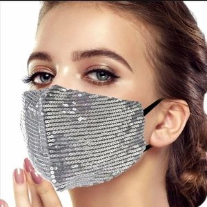 Accessories - Any 2 $30 Silver Sparkle Sequin Face mask